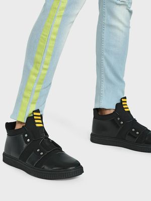 KOOVS Stripe Print Tape Panelled Sneakers
