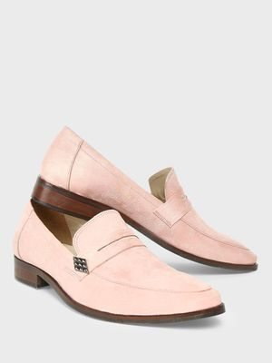 KOOVS Metal Trim Suede Penny Loafers