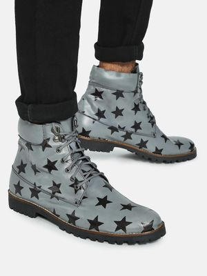 Bolt Of The Good Stuff Star Print Lace-Up Boots