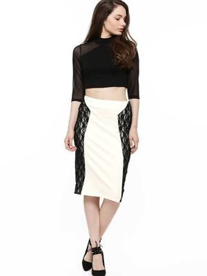 KOOVS Contrast Lace Panel Pencil Skirt