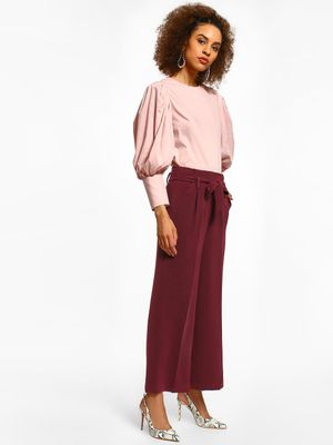 Cover Story Linen Flared Tie-Knot Trousers
