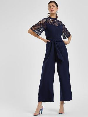 Cover Story Lace Embroidered Tie-Up Jumpsuit