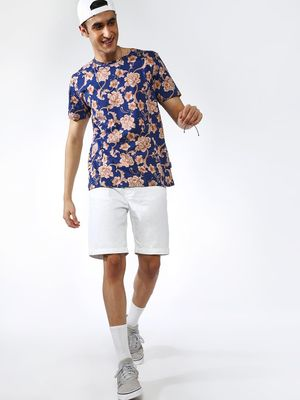 Blue Saint All Over Tropical Print Crew Neck T-shirt