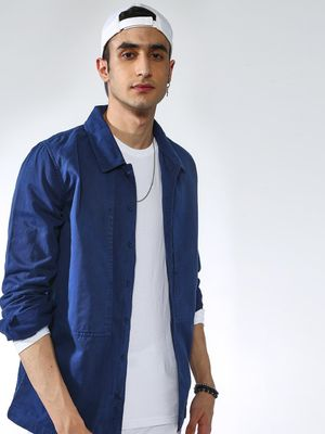 Blue Saint Solid Long Sleeves Jacket