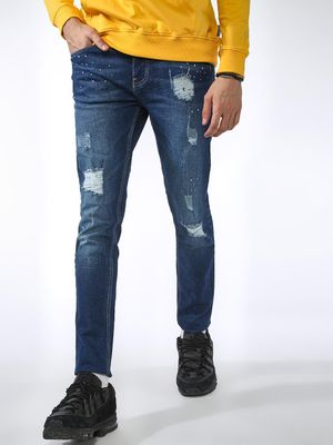 Blue Saint Sequined Washed Distressed Slim Jeans