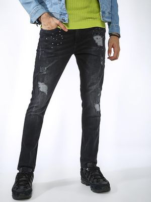 Blue Saint Embellished Distressed Dark Wash Jeans