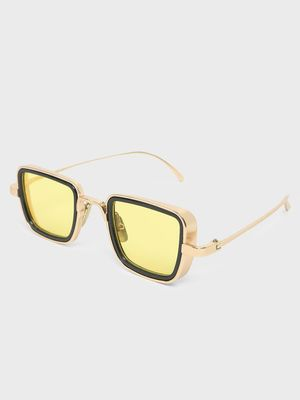 Fuzoku Golden/Yellow Metal Frame Stunner Sunglasses