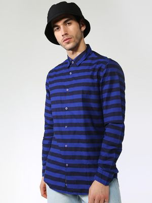 Blue Saint Contrast Horizontal Stripe Shirt