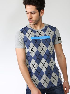 Blue Saint Geometrical Print Half Sleeve T-Shirt