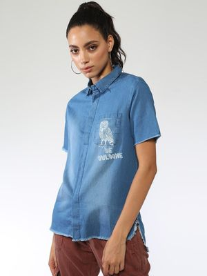 Blue Saint Owl Print High Low Shirt