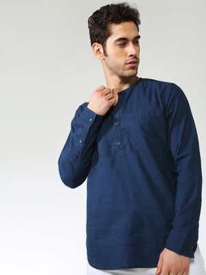 Blue Saint Solid Half-Placket Mandarin Collar Shirt