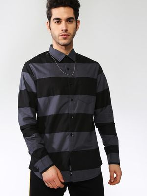 Blue Saint Contrast Horizontal Stripe Long Sleeves Shirt