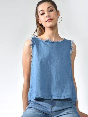 Blue Saint Back Split Denim Top