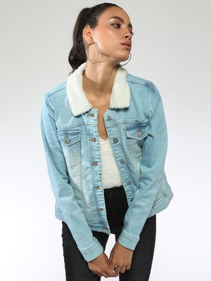 Blue Saint Basic Fur Collar Denim Jacket