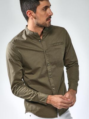 Blue Saint Grandad Collar Long Sleeve Shirt