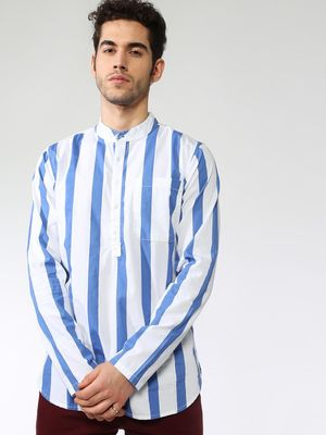 Blue Saint Vertical Stripe High-Low Hem Shirt