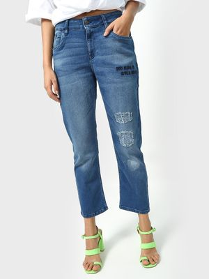 Blue Saint Mid-Wash Distressed Slogan Print Jeans