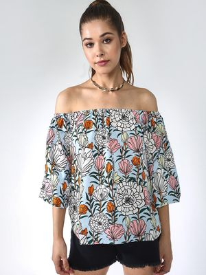 Blue Saint Tropical Print Off-Shoulder Top