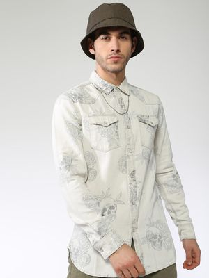 Blue Saint All Over Floral And Skull Print Shirt