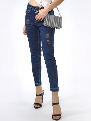 Blue Saint Rose Printed Jeans