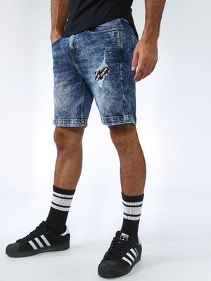 Blue Saint Acid Wash Distressed Patch Denim Shorts