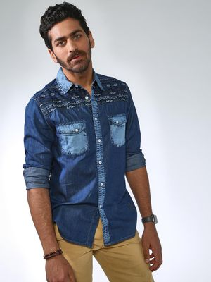 Blue Saint Printed Slim Fit Denim Shirt