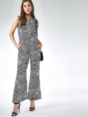 Blue Saint Zebra Print Sleeveless Jumpsuit