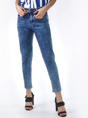 Blue Saint Back Floral Embroidered Print Jeans