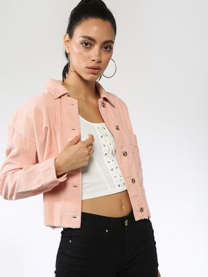 Blue Saint Corduroy Patch Pocket Cropped Jacket