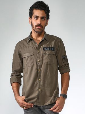 Blue Saint Twin Pocket Badge Casual Shirt
