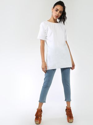 Blue Saint Round Neck Tunic Top