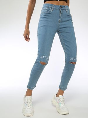 Blue Saint Slogan Embroidered Ripped Jeans