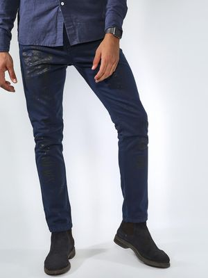 Blue Saint Slogan Print Slim Jeans