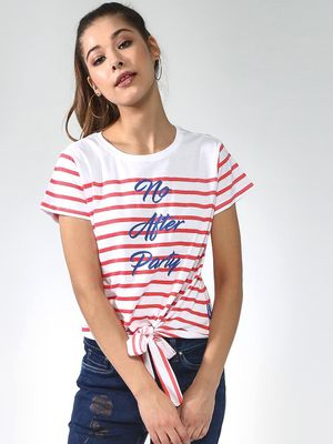 Blue Saint Stripe Print Tshirt
