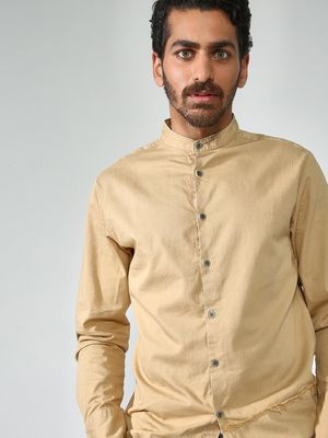 Blue Saint Cut & Sew Grandad Collar Casual Shirt