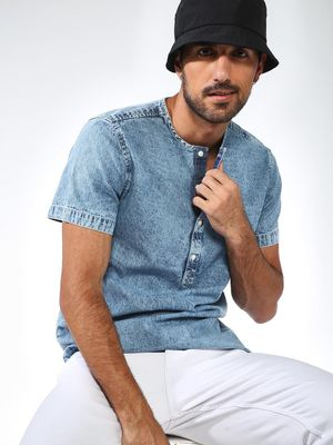 Blue Saint Round Neck Denim Shirt