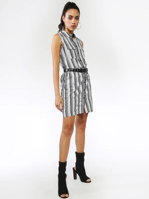 Blue Saint Multi Vertical Stripe Shirt Dress