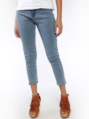 Blue Saint Embroidered Yes No Text Cropped Jeans
