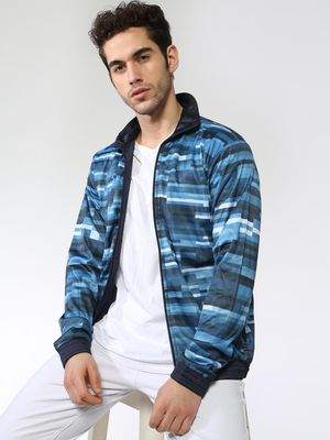 Blue Saint Abstract Print Jacket
