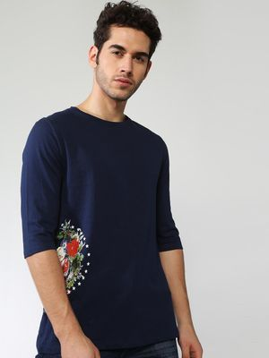 Blue Saint Side Floral Print Crew Neck T-shirt