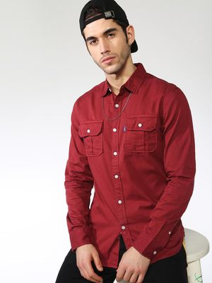 Blue Saint Solid Twin-Patch Pocket Slim Shirt