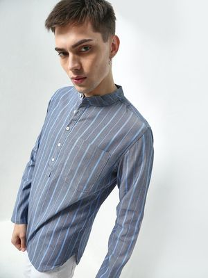 Blue Saint Vertical Stripes Mandarin Collar Shirt
