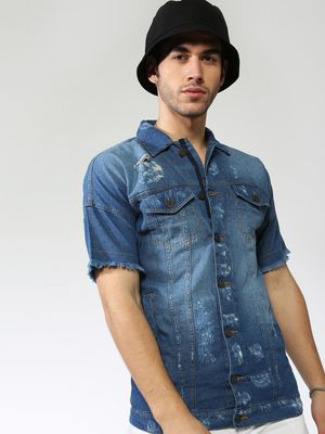 Blue Saint Mid Wash Distressed Denim Shirt