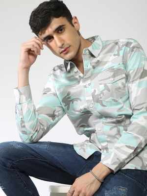 Blue Saint Camo Print Casual Shirt