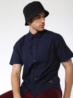 Blue Saint Solid Short Sleeve Slim Fit Shirt
