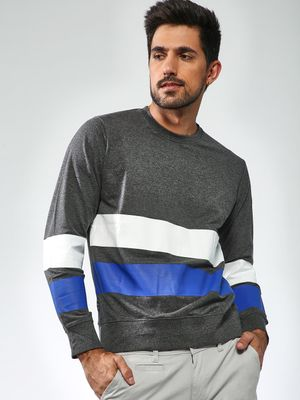 Blue Saint Striped Crew Neck Sweatshirt