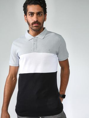 Blue Saint Colour Block Short Sleeve Polo Shirt