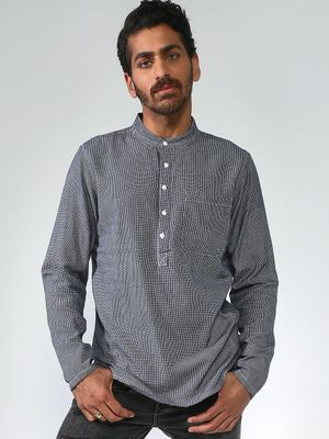 Blue Saint Pinstriped Mandarin Collar Shirt