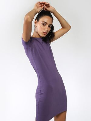 Blue Saint Basic Round Neck T-Shirt Dress