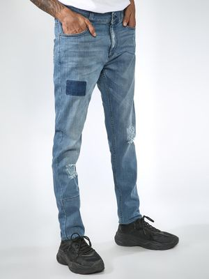 Blue Saint Light Wash Ripped Slim Jeans